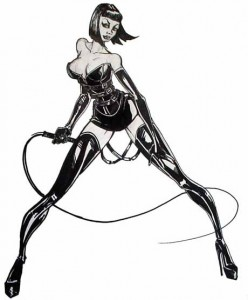 The girl in my dream looked kind of like this. Except she had two whips instead of one, and they glowed with blue energy. Plus she wasn't dressed as a dominatrix.